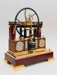 Часы «Паровая машина» с барометром и двумя термометрами Франция. 1880-е