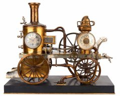 Часы «Пожарный паровой насос наконной тяге» с барометром и компасом. Франция. Последняя четверть XIXвека