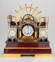 Часы «Водяное колесо» с барометром и термометром. Франция, Париж.  1880– 1890-е
