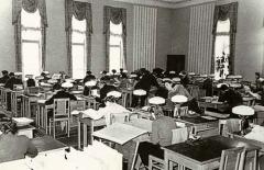 Читальный зал ЦГАКА в здании  на Большой Пироговской ул., д. 17 1950е гг. РГВА. Справочно‑ информационный фонд